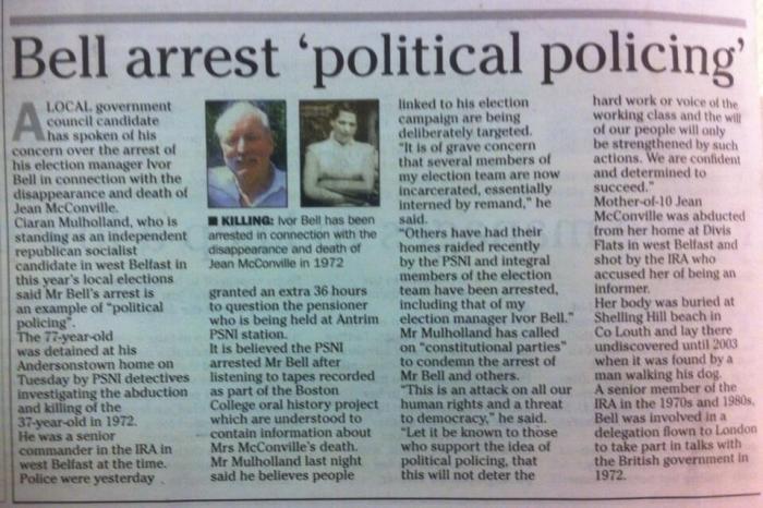 Ivor Bell political policing arrest