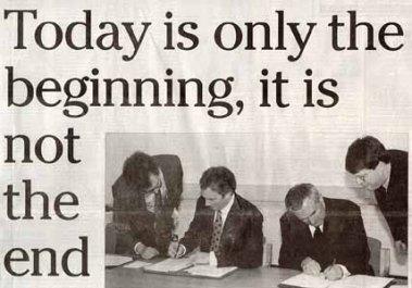 Irish News edizione del 11 aprile 1998 all'indomani della firma del Good Friday Agreement