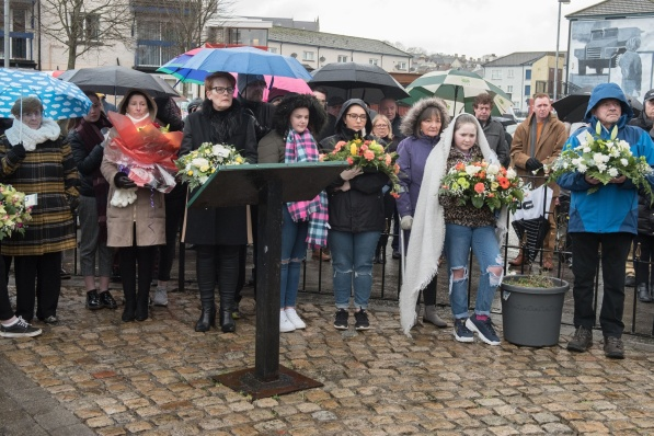 Members of the Bloody Sunday families who came together on Sunday morning to lay wreaths in memory of their loved ones who died 47 years ago in Derry. Picture Martin McKeown. Inpresspics.com. 27.01.19