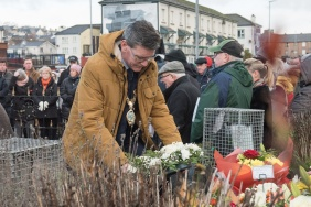 The Mayor Councillor John Boyle lays a wreath at the Bloody Sunday Memorial on Sunday. Picture Martin McKeown. Inpresspics.com. 27.01.19