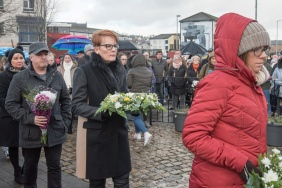 Members of the Bloody Sunday families who laid wreaths on Sunday morning marking the events of 47 years ago in 1972. PIcture Martin McKeown. Inpresspics.com. 27.01.19