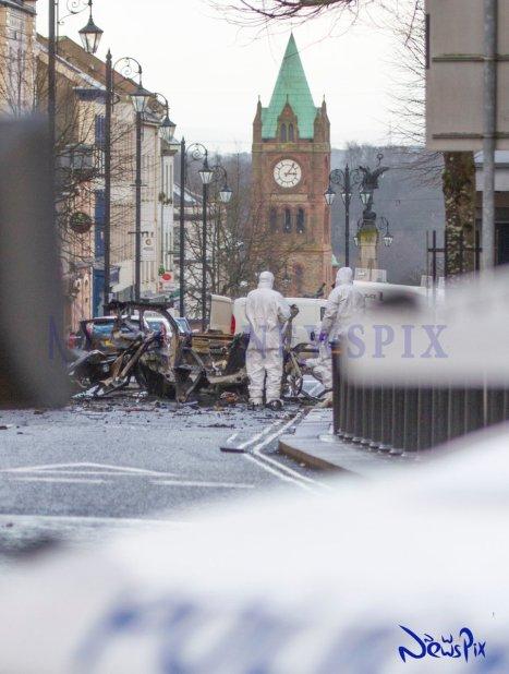 Derry car bomb scene