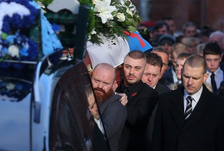 Press Eye - Belfast - Northern Ireland - 4th February 2019 Funeral of murder victim Ian Ogle at Covenant Love Church on the Albertbridge Road in east Belfast. The 45-year-old died after being assaulted by several people at Cluan Place area of east Belfast last week. Ian Olge's coffin leaves his home in Cluan Place for a the funeral service and is carried by his son Ryan(centre) Picture by Jonathan Porter/PressEye