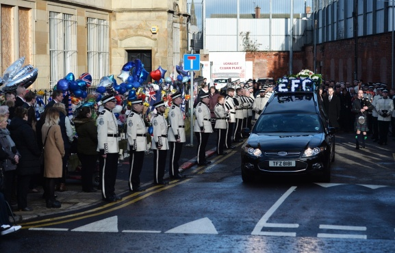 PACEMAKER BELFAST 04/02/2019 Funeral in east Belfast for murdered loyalist Ian Ogle. Mr Ogle was murdered by a loyalist gang close to his house in Cluan Place last Sunday night. Photo Colm Lenaghan/Pacemaker Press