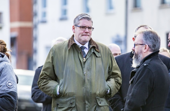 MP Gavin Robinson as The funeral of Ian Ogle takes place in east Belfast on February 4th 2019 (Photo by Kevin Scott for Belfast Telegraph)