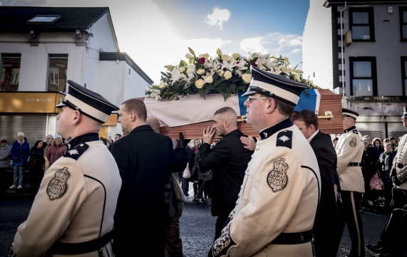 The funeral of Ian Ogle takes place in east Belfast on February 4th 2019 (Photo by Kevin Scott for Belfast Telegraph)