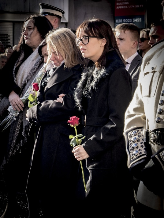 Vera and Toni Ogle as The funeral of Ian Ogle takes place in east Belfast on February 4th 2019 (Photo by Kevin Scott for Belfast Telegraph)