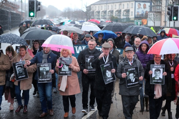 Families of those died march through the Bogside in Londonderry, Northern Ireland, towards the Guildhall ahead of the announcement as to whether 17 former British soldiers and two former members of the Official IRA will be prosecuted in connection with the events of Bloody Sunday in the city in January 1972. PRESS ASSOCIATION Photo. Picture date: Thursday March 14, 2019. See PA story ULSTER Sunday. Photo credit should read: Niall Carson/PA Wire