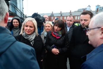 Retransmission, amending byline. Politicians Sinn Fein's Michelle O'Neill (left), Elisha McCallion, MP for Foyle, (centre) and SDLP's Colum Eastwood (right) join families before a march through the Bogside in Londonderry, in Northern Ireland, ahead of an announcement over the prosecution of 17 former British soldiers and two former members of the Official IRA in connection with the events of Bloody Sunday in the city in January 1972. PRESS ASSOCIATION Photo. Picture date: Thursday March 14, 2019. See PA story ULSTER Sunday. Photo credit should read: Liam McBurney/PA Wire