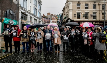 Families, relatives and supporters of those who died march through Londonderry, in Northern Ireland, ahead of an announcement over the prosecution of 17 former British soldiers and two former members of the Official IRA in connection with the events of Bloody Sunday in the city in January 1972. PRESS ASSOCIATION Photo. Picture date: Thursday March 14, 2019. See PA story ULSTER Sunday. Photo credit should read: Liam McBurney/PA Wire