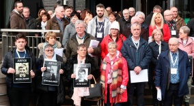 Relatives of those who died on Bloody Sunday leaving a briefing with DPP Stephen Herron at the City Hotel Londonderry, Northern Ireland, after the announcement from the Public Prosecution Service that one former paratrooper, soldier F is to be charged with two murders and four attempted murders during Bloody Sunday in Londonderry in 1972. PRESS ASSOCIATION Photo. Picture date: Thursday March 14, 2019. See PA story ULSTER Sunday. Photo credit should read: Niall Carson/PA Wire