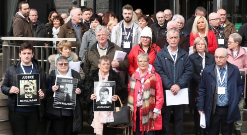 Relatives of those who died on Bloody Sunday leaving a briefing with DPP Stephen Herron at the City Hotel Londonderry, Northern Ireland, after the announcement from the Public Prosecution Service that one former paratrooper, soldier F is to be charged with two murders and four attempted murders during Bloody Sunday in Londonderry in 1972.