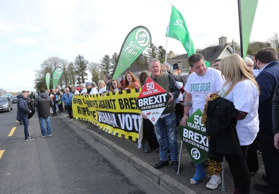 Press Eye - Belfast - Northern Ireland - 30th March 2019 - Photo by Lorcan Doherty / Press Eye Border Communities Against Brexit protest at the border crossing between Derry and Donegal at Bridgend.