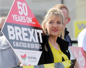 Press Eye - Belfast - Northern Ireland - 30th March 2019 - Photo by Lorcan Doherty / Press Eye Border Communities Against Brexit protest at the border crossing between Derry and Donegal at Bridgend. Sinn Fein MEP Martina Anderson.