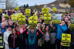 Border Communities Against Brexit holding protests on Old Belfast Road in Carrickcarnon on the northern side of the Irish border, between Newry and Dundalk. The day of protest is against a hard border in Ireland. PRESS ASSOCIATION Photo. Picture date: Saturday March 30, 2019. See PA story POLITICS Brexit. Photo credit should read: Niall Carson/PA Wire