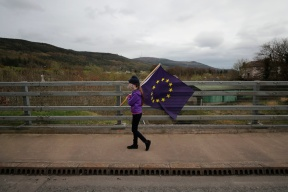 Aoife McGenity attends a Border Communities Against Brexit protest at Old Belfast Road in Carrickcarnon on the northern side of the Irish border, between Newry and Dundalk. The day of protest is against a hard border in Ireland. PRESS ASSOCIATION Photo. Picture date: Saturday March 30, 2019. See PA story POLITICS Brexit. Photo credit should read: Niall Carson/PA Wire