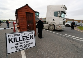 A mock customs post is put up by Border Communities Against Brexit protesters on Old Belfast Road in Carrickcarnon on the northern side of the Irish border, between Newry and Dundalk. The day of protest is against a hard border in Ireland. PRESS ASSOCIATION Photo. Picture date: Saturday March 30, 2019. See PA story POLITICS Brexit. Photo credit should read: Niall Carson/PA Wire