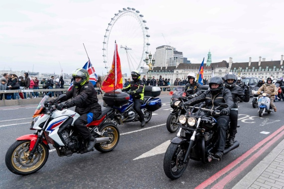 Motorcyclists ride across Westminster Bridge in central London on April 12, 2019, during a protest against the Bloody Sunday prosecution of Soldier F and in support of all Veterans. - A former British soldier faces murder charges of two people after troops opened fire on civil rights demonstrators on Bloody Sunday in Londonderry in 1972. (Photo by Niklas HALLE'N / AFP)NIKLAS HALLE'N/AFP/Getty Images