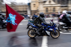 Motorcyclists ride through the streets of central London on April 12, 2019, during a protest against the Bloody Sunday prosecution of Soldier F and in support of all Veterans. - A former British soldier faces murder charges of two people after troops opened fire on civil rights demonstrators on Bloody Sunday in Londonderry in 1972. (Photo by Niklas HALLE'N / AFP)NIKLAS HALLE'N/AFP/Getty Images