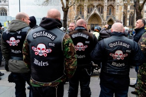 Motorcyclists gather after riding in a protest against the Bloody Sunday prosecution of Soldier F and in support of all Veterans, in central London on April 12, 2019. - A former British soldier faces murder charges of two people after troops opened fire on civil rights demonstrators on Bloody Sunday in Londonderry in 1972. (Photo by Niklas HALLE'N / AFP)NIKLAS HALLE'N/AFP/Getty Images
