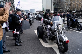 Motorcyclists ride during a protest against the Bloody Sunday prosecution of Soldier F and in support of all Veterans, in central London on April 12, 2019. - A former British soldier faces murder charges of two people after troops opened fire on civil rights demonstrators on Bloody Sunday in Londonderry in 1972. (Photo by Niklas HALLE'N / AFP)NIKLAS HALLE'N/AFP/Getty Images