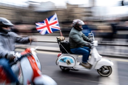 Scooterists ride through the streets of central London on April 12, 2019, during a protest against the Bloody Sunday prosecution of Soldier F and in support of all Veterans. - A former British soldier faces murder charges of two people after troops opened fire on civil rights demonstrators on Bloody Sunday in Londonderry in 1972. (Photo by Niklas HALLE'N / AFP)NIKLAS HALLE'N/AFP/Getty Images