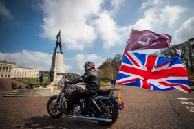Motorcyclists take part in the Rolling Thunder ride protest in Belfast, riding toward the Stormont buildings, to support of Soldier F who is facing prosecution over Bloody Sunday. PRESS ASSOCIATION Photo. Picture date: Friday April 12, 2019. Soldier F is to be charged with murdering two people after troops opened fire on civil rights demonstrators in Londonderry in 1972. A similar protest of an estimated 20,000 riders is taking place in London. See PA story ULSTER Sunday. Photo credit should read: Liam McBurney/PA Wire