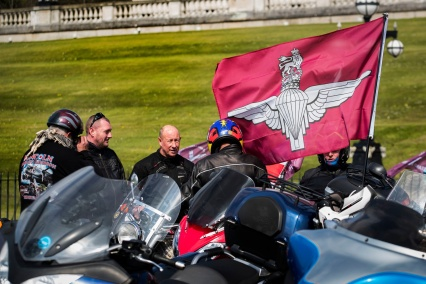 Motorcyclists at the Stormont buildings in Belfast take part in the Rolling Thunder protest to support of Soldier F, who is facing prosecution over Bloody Sunday. PRESS ASSOCIATION Photo. Picture date: Friday April 12, 2019. Soldier F is to be charged with murdering two people after troops opened fire on civil rights demonstrators in Londonderry in 1972. A similar protest of an estimated 20,000 riders is taking place in London. See PA story ULSTER Sunday. Photo credit should read: Liam McBurney/PA Wire