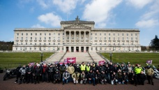 Motorcyclists at the Stormont buildings in Belfast take part in the Rolling Thunder ride protest to support of Soldier F, who is facing prosecution over Bloody Sunday. PRESS ASSOCIATION Photo. Picture date: Friday April 12, 2019. Soldier F is to be charged with murdering two people after troops opened fire on civil rights demonstrators in Londonderry in 1972. A similar protest of an estimated 20,000 riders is taking place in London. See PA story ULSTER Sunday. Photo credit should read: Liam McBurney/PA Wire