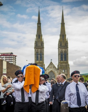 The funeral of INLA man Martin McElkerney takes place in Divis, west Belfast on May 23rd 2019 (Photo by Kevin Scott for Belfast Telegraph)
