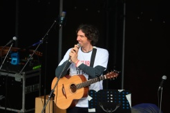 Lead singer of Snow Patrol Gary Lightbody performs on stage at the Guildhall in Derry, Northern Ireland, in the name of Lyra McKee, as friends of the murdered journalist arrive at the end of their three-day peace walk from Belfast. PRESS ASSOCIATION Photo. See PA story ULSTER Walk. Picture date: Monday May 27, 2019. Photo credit should read: Liam McBurney/PA Wire