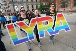Press Eye - Belfast - Northern Ireland - 27th May 2019 - Photo by Lorcan Doherty / Press Eye. Lyra's Walk The finale of the Peace Walk from Belfast to Derry in memory of Lyra McKee. Walkers make their way not Guildhall Square.