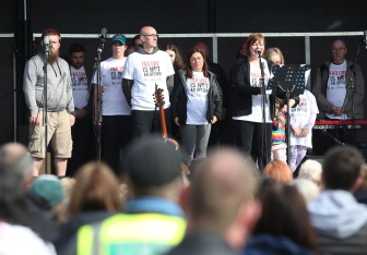 Press Eye - Belfast - Northern Ireland - 27th May 2019 - Photo by Lorcan Doherty / Press Eye. Lyra's Walk The finale of the Peace Walk from Belfast to Derry in memory of Lyra McKee. The family of the late Lyra McKee.