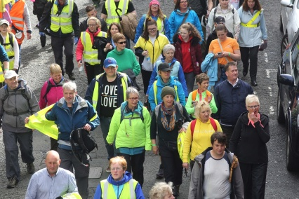 Press Eye - Belfast - Northern Ireland - 27th May 2019 - Photo by Lorcan Doherty / Press Eye. Lyra's Walk The finale of the Peace Walk from Belfast to Derry in memory of Lyra McKee. Participants making their way down Shipquay Street.