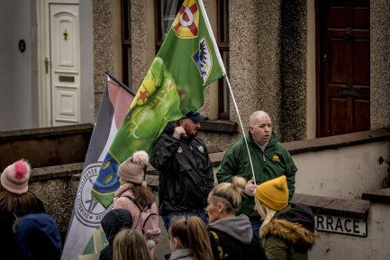 Members of Saoradh as a remembrance march for the 48th anniversary of Bloody Sunday takes place in the Creggan area Derry on February 2nd 2020 (Photo by Kevin Scott for Belfast Telegraph)
