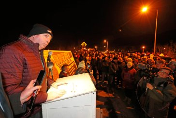 Damien McGinnity from the campaign group Border Communities Against Brexit during a demonstration in Carrickcarnon on the Irish border, ahead of the UK leaving the European Union at 11pm on Friday. PA Photo. Picture date: Friday January 31, 2020. See PA story POLITICS Brexit. Photo credit should read: Niall Carson/PA Wire