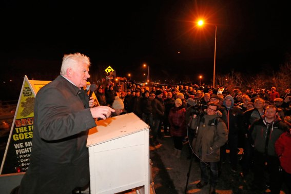 Declan Fearon from the campaign group Border Communities Against Brexit during a demonstration in Carrickcarnon on the Irish border, ahead of the UK leaving the European Union at 11pm on Friday. PA Photo. Picture date: Friday January 31, 2020. See PA story POLITICS Brexit. Photo credit should read: Niall Carson/PA Wire